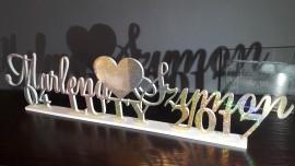 Napis 3D Brokatowy -Imiona Pary Młodej